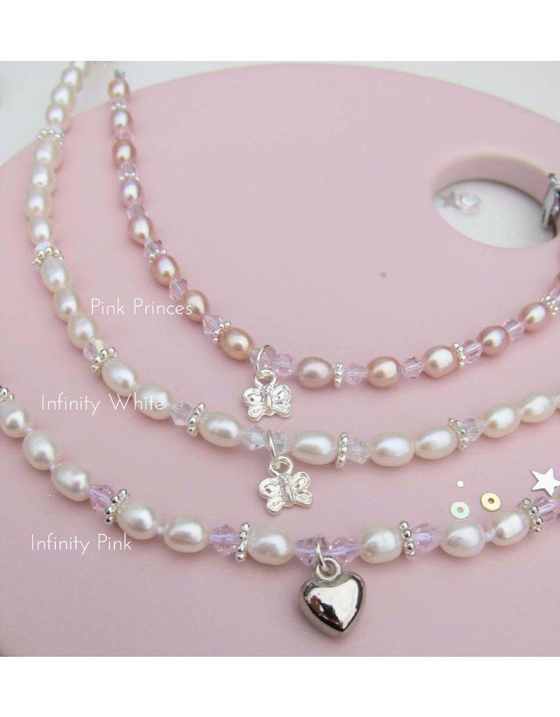 KAYA sieraden Children necklace 'Infinity White' heart with globe