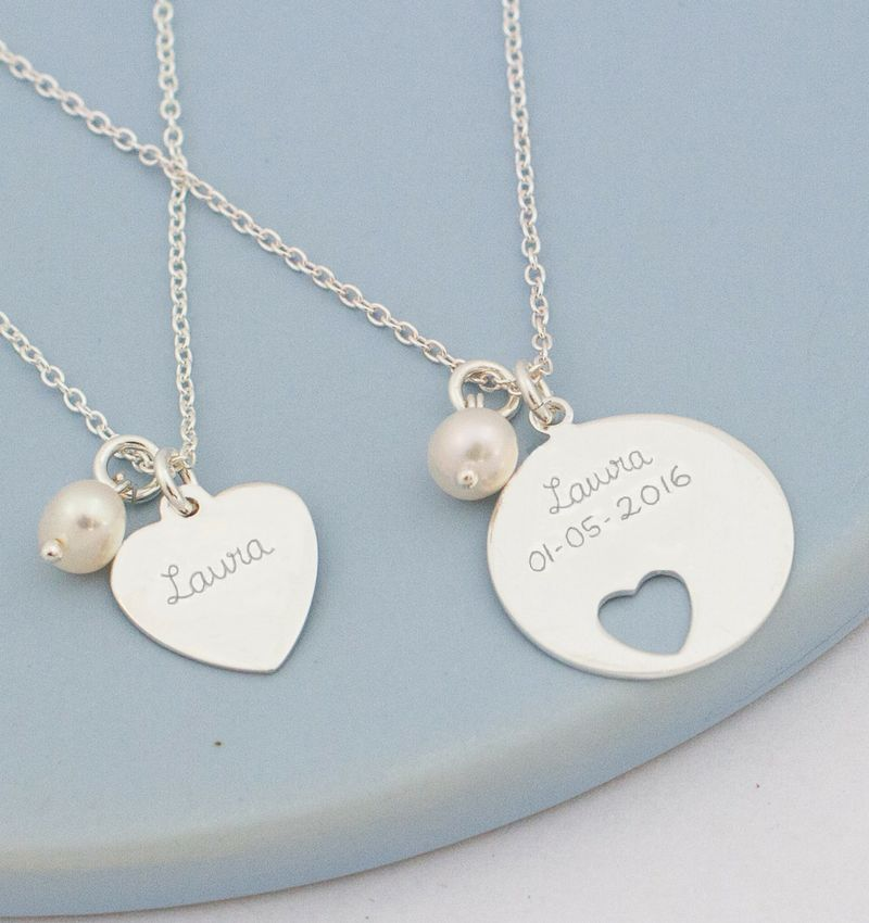 Silver mom & me necklaces 'In My Heart'