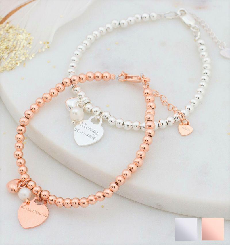KAYA sieraden Zilveren armband 'Cute Balls' met gegraveerde bedel