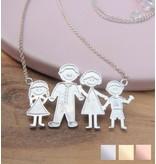 KAYA sieraden Zilveren ketting Loving Famiy ♥EIGEN TEKENING♥