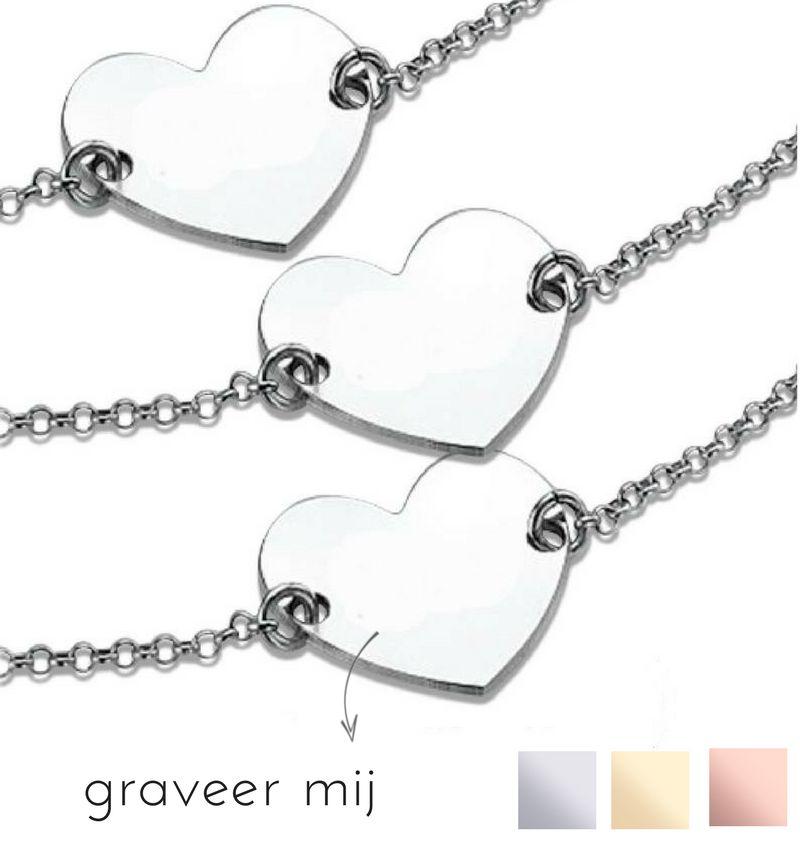 KAYA sieraden Zilveren 3 generatie set 'Memory' met gravure
