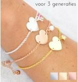 Zilveren drie generatie armbanden 'Sweetheart' met gravure