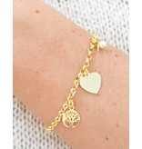 18 carat gold plated bracelet 'Jasseron' engraving bed + life tree