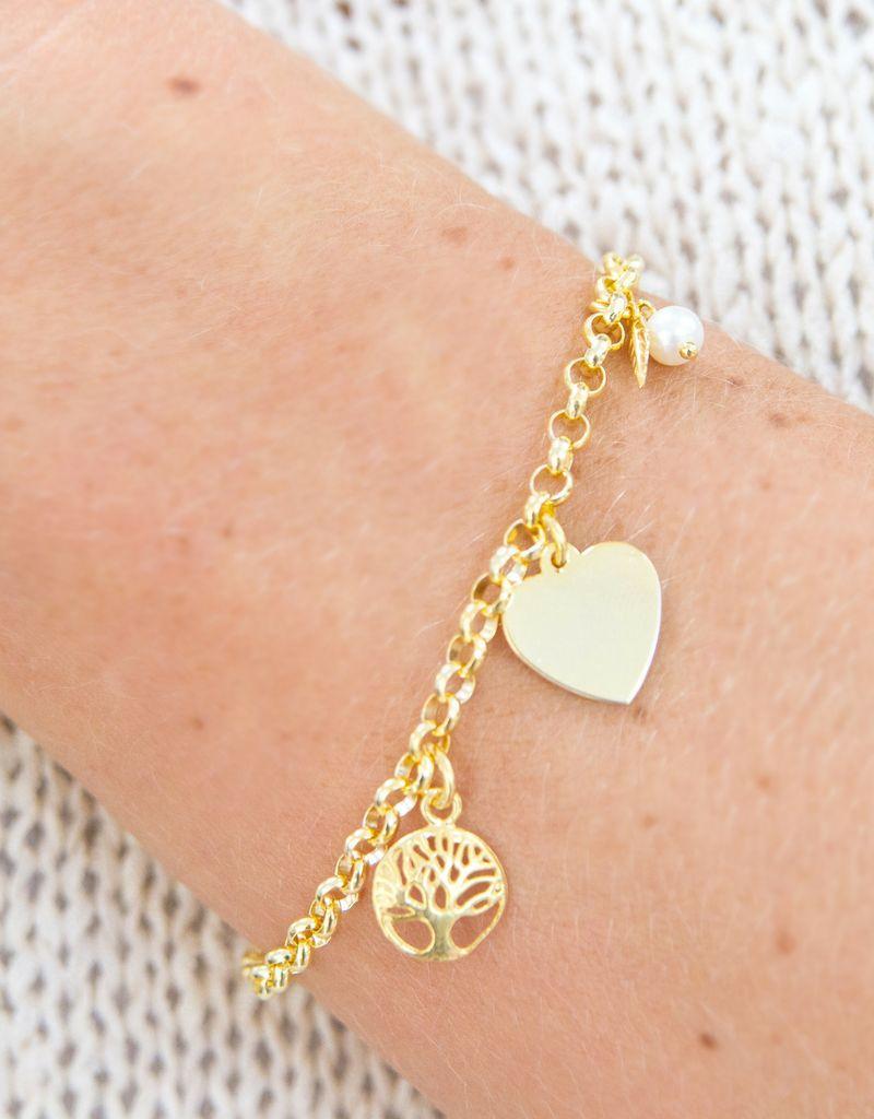 KAYA sieraden 18 carat gold plated bracelet 'Jasseron' engraving bed + life tree