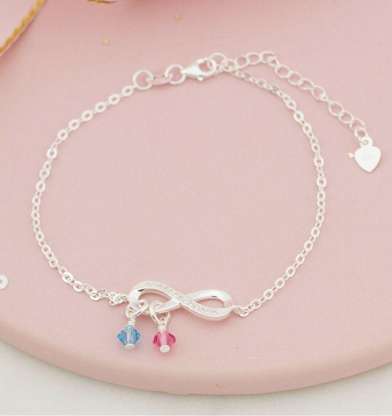 Zilveren armband 'Infinity Crystal' met  Swarovksi® geboortekristallen
