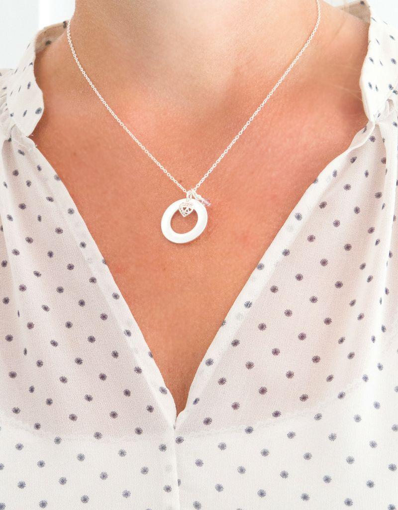 KAYA sieraden Gepersonaliseerde zilveren circel ketting 'geboortekristallen'