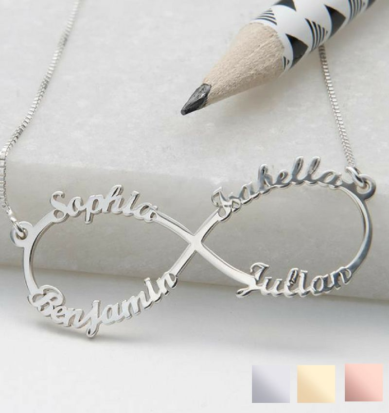 "Silver Infinity necklace 'four names, ""sweet mom gift! - Copy"