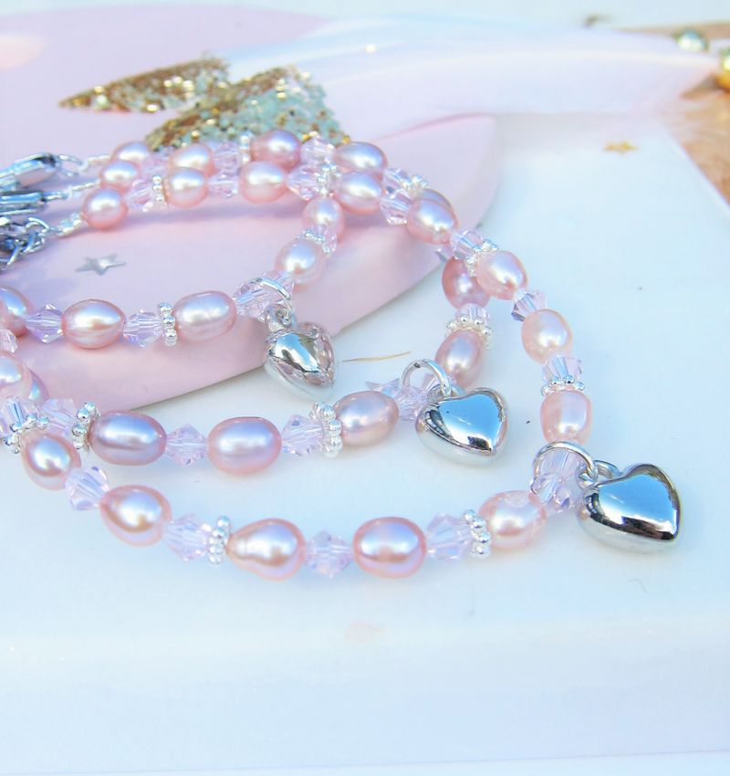 Afbeelding van 3 generatie armbanden 'Pink Princess' met hartjes KAYA