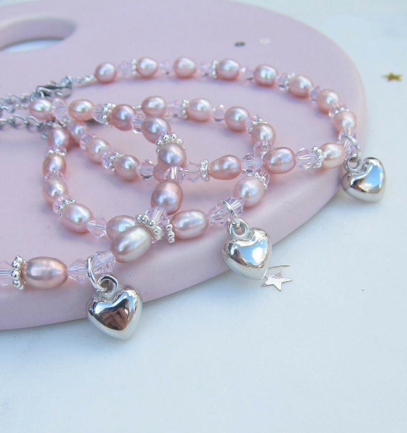 KAYA sieraden 3 generatie armbanden 'Pink Princess' met hartje