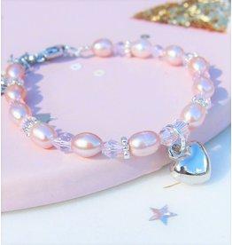 KAYA sieraden Kinder armbandje 'Pink Princess' met hartje