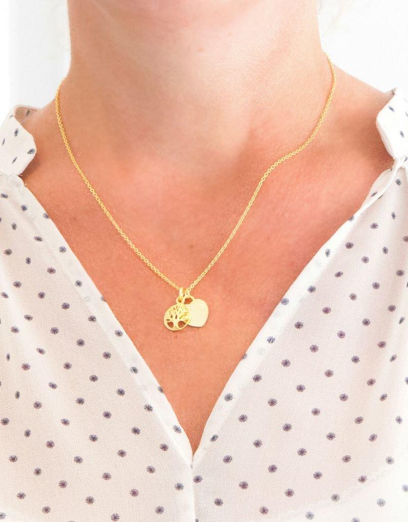 KAYA sieraden Zilveren ketting 'graveer bedel & levensboom'