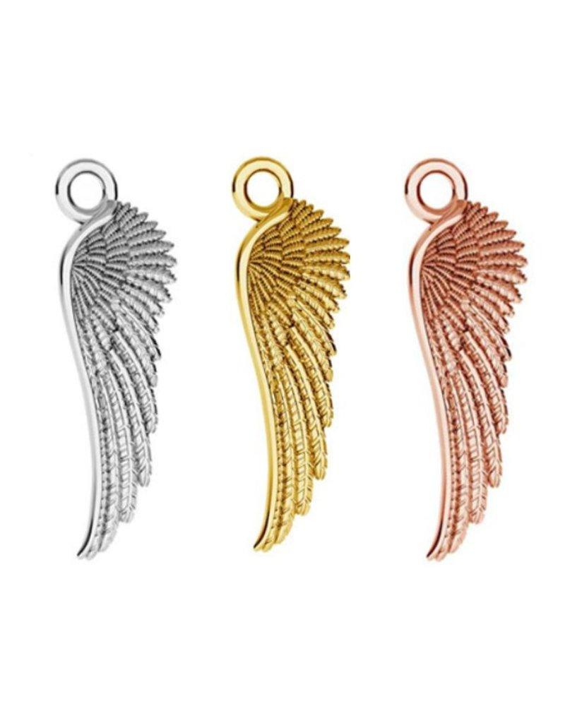 KAYA sieraden Zilveren ketting 'angel wings & graveerbedel'