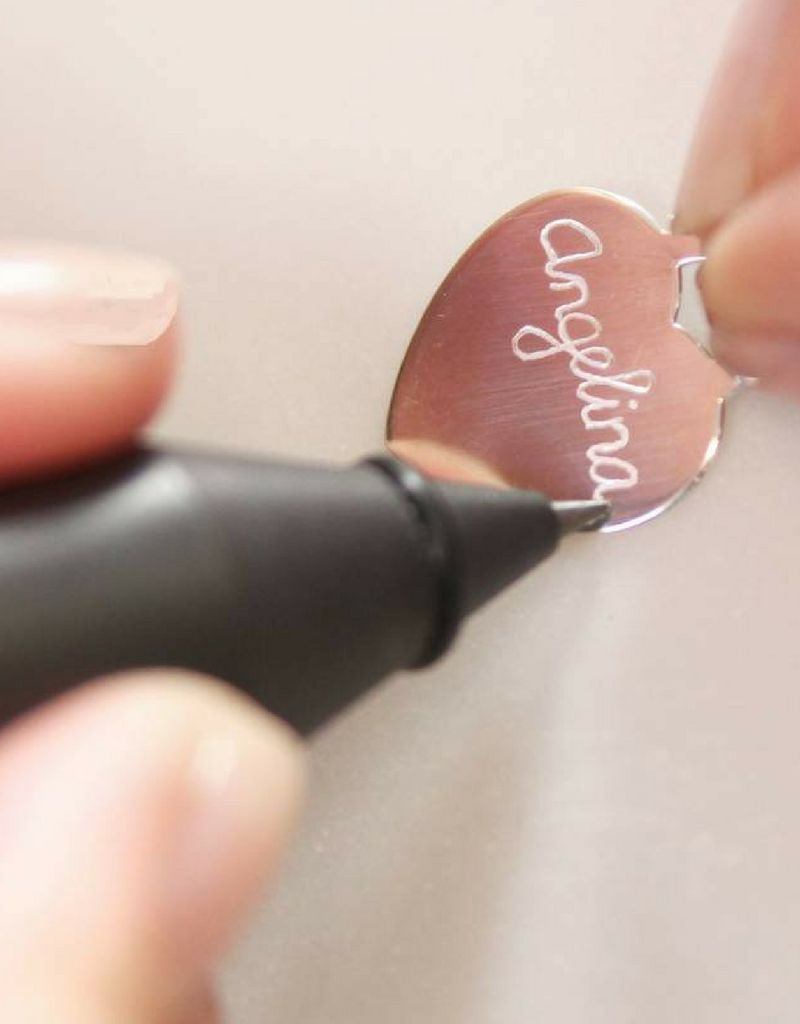 Zilveren ketting 'angel wings & graveer disc'