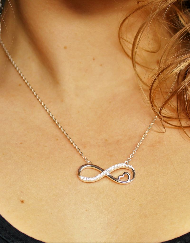 Silver Infinity Necklace 'Forever in my Heart'
