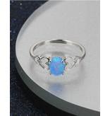 KAYA sieraden Zilveren ring met opaal steen 'double hearts'
