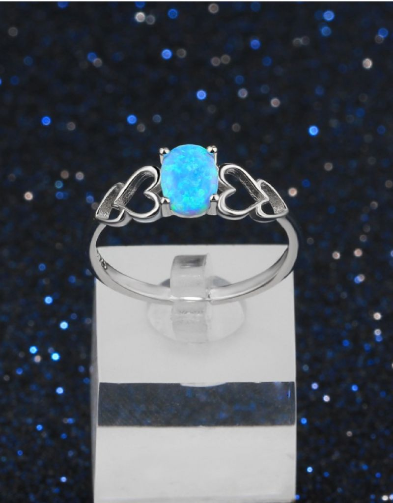 KAYA sieraden Silver ring with opal stone '3 hearts' - Copy