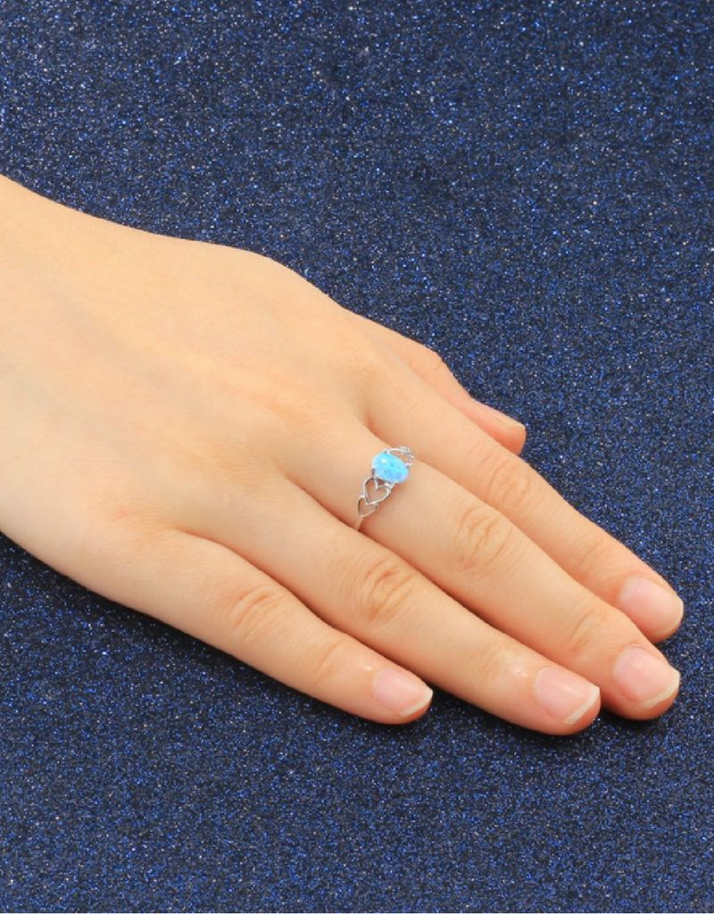Zilveren ring 'Blue Opal' met opaalsteentje