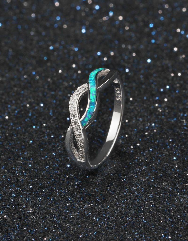 Silver ring with opal stone '3 hearts' - Copy - Copy