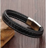 Zwarte mannen armband 'leather'
