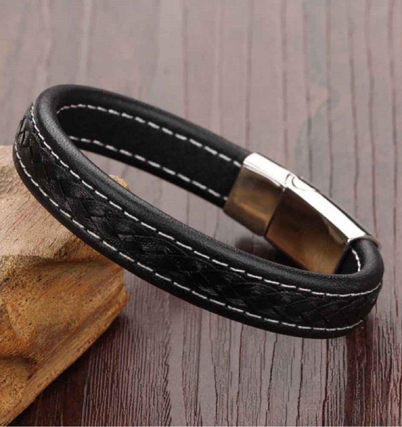 KAYA sieraden Zwarte mannen armband 'leather'