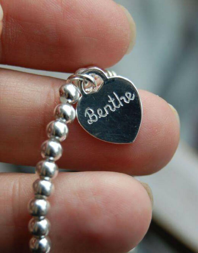 Silver bracelet 'Cute Balls' Great heart & Pearl