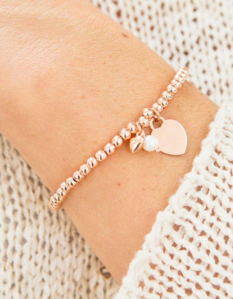 KAYA sieraden Silver bracelet 'Cute Balls' Great heart & Pearl