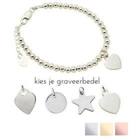 KAYA sieraden Zilveren armband 'Cute Balls' met graveerbedel