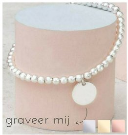 KAYA sieraden Silver bracelet 'Cute Balls' with engraving disc