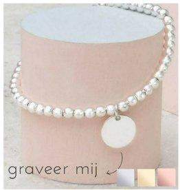 KAYA sieraden Zilveren armband 'Cute Balls' met graveer disc