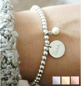 KAYA sieraden Silver bracelet 'Cute Balls' with charm & pearl