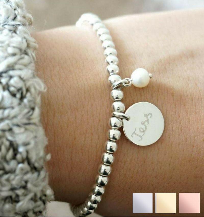KAYA sieraden Silver bracelet 'Cute Balls' with Bead & Pearl