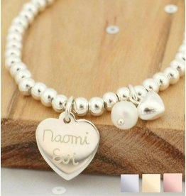 Silver bracelet 'Cute Balls' Great heart & Pearl