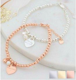 KAYA sieraden Armband 'Cute Balls' met Gravure in Zilver of Rosé
