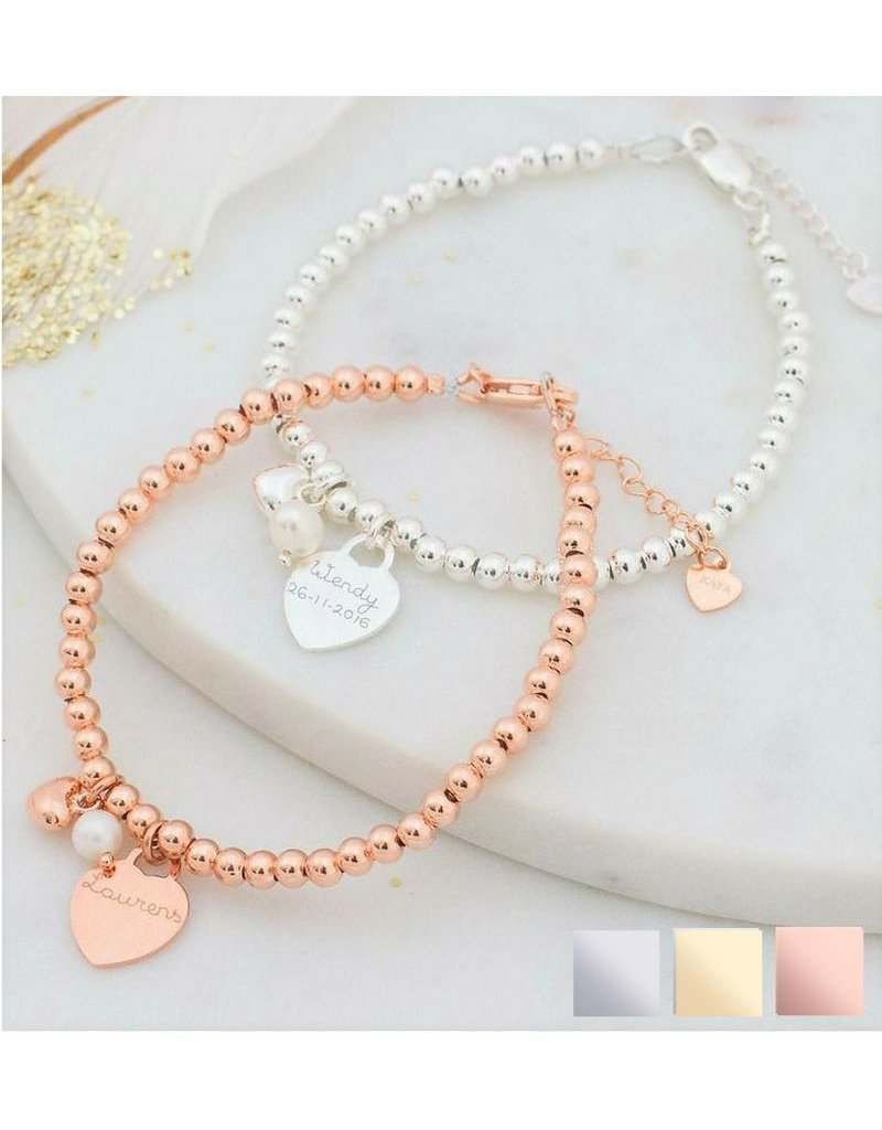 KAYA sieraden Bracelet 'Cute Balls' Engrave Heart & Pearl & Heart