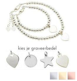 KAYA sieraden Silver bracelets set 'Cute Balls' - Copy
