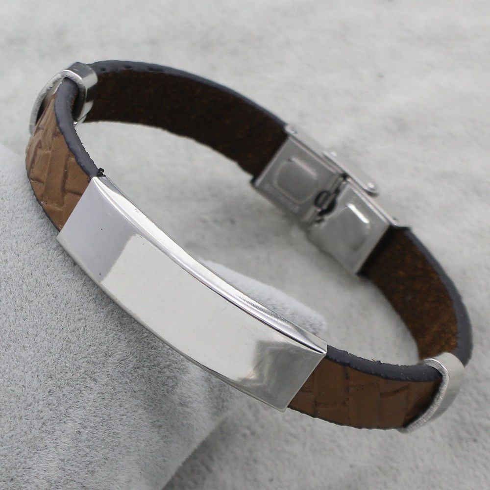 Personalized Stainless Steel Bracelet 'Cool Gray' - Copy