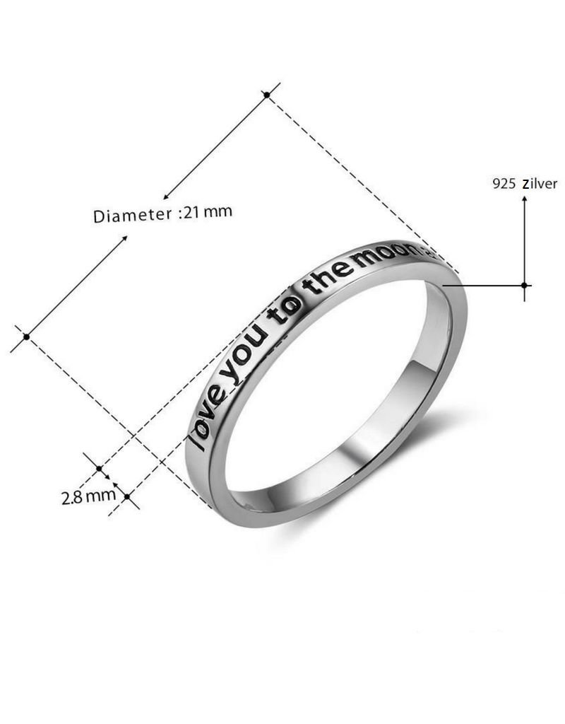 KAYA sieraden Zilveren ring 'Love you to the moon and back'