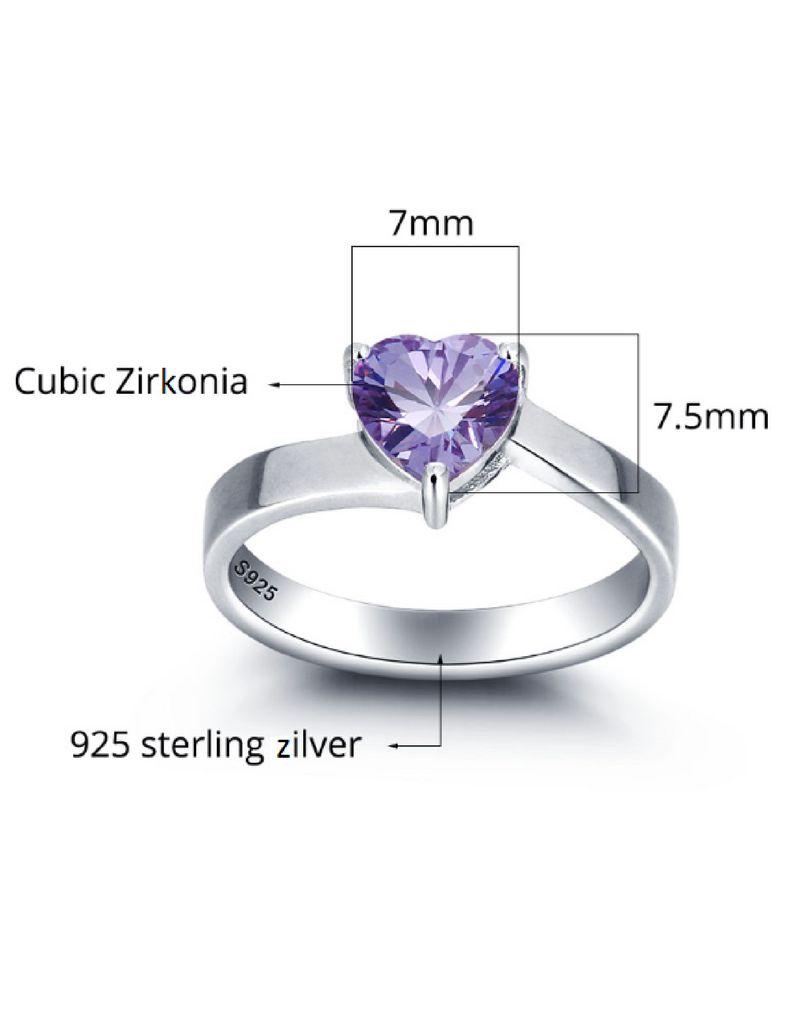 Ring met 1 geboortesteen 'Cute Heart'
