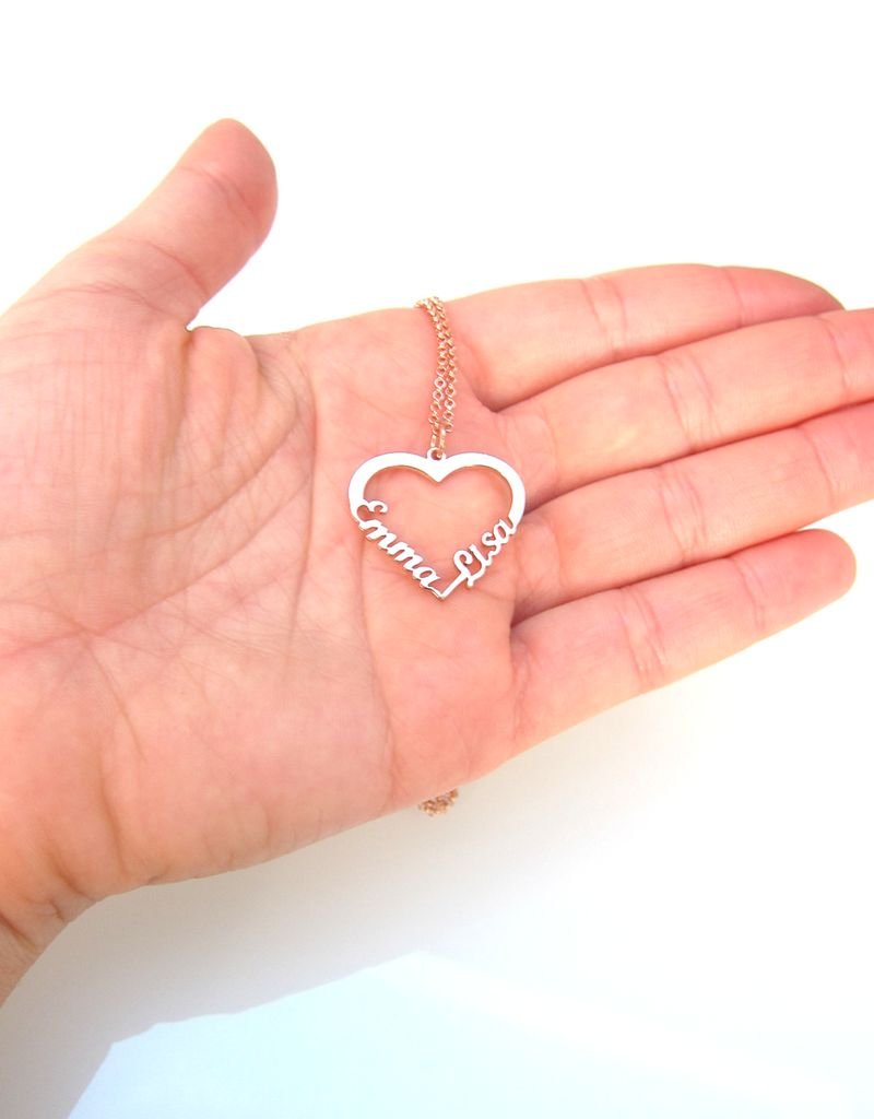 "KAYA sieraden Silver heart-shaped necklace ""2 names'"