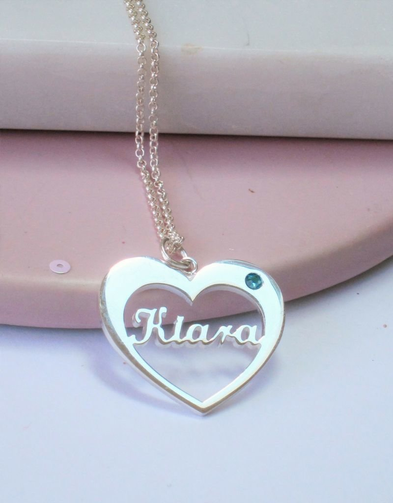 KAYA sieraden Silver necklace with birthstone and name
