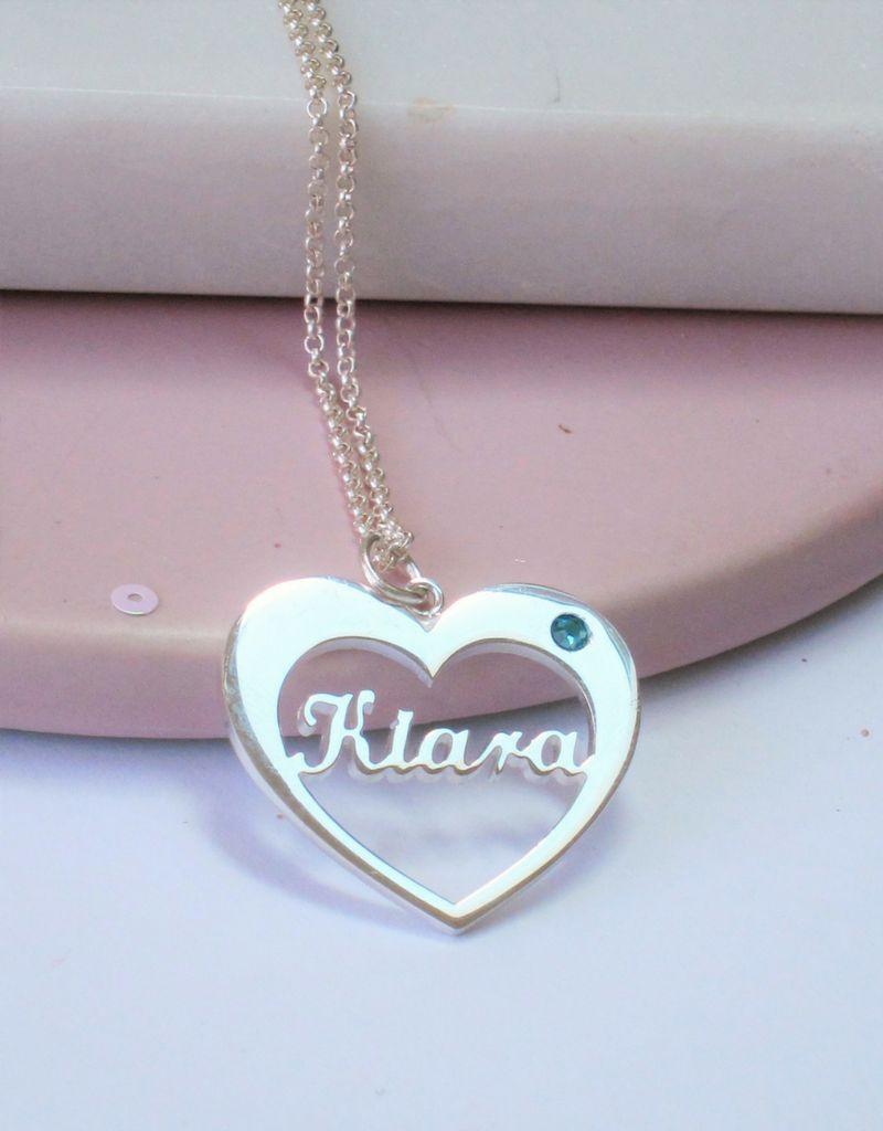 KAYA sieraden Naamketting met geboortesteen 'heart'
