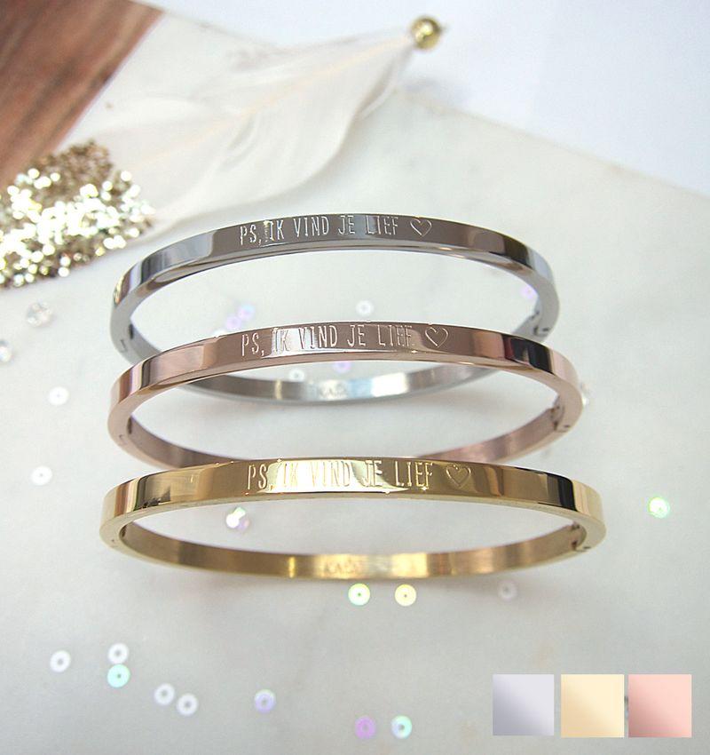 KAYA sieraden Bangle met tekst 'PS, ik vind je lief ♡'