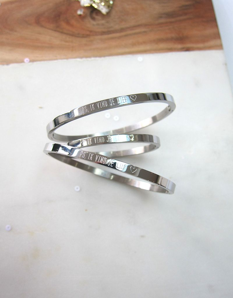 KAYA sieraden Drie generatie armbanden set 'ps, ik vind je lief ♡'