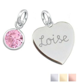KAYA sieraden Engraved heart (16mm) + Birthstone