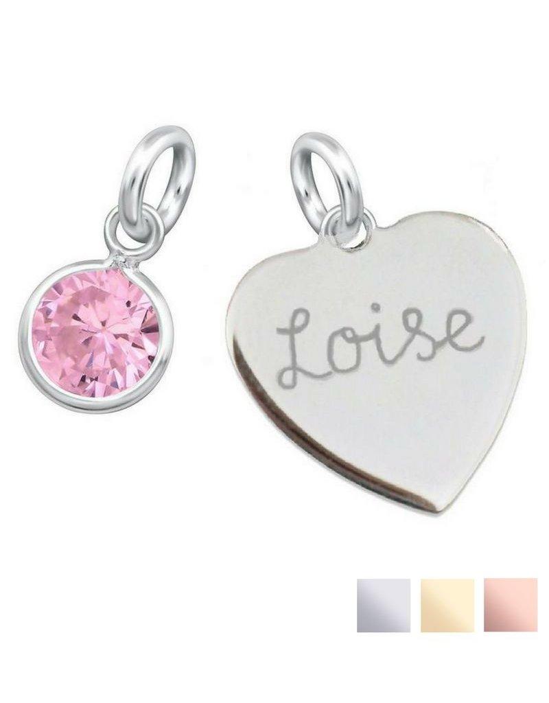 KAYA sieraden Engraved heart (16mm) + Birthstone