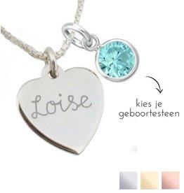 KAYA sieraden Zilveren Ketting ''Geboortekristal & Hartje'