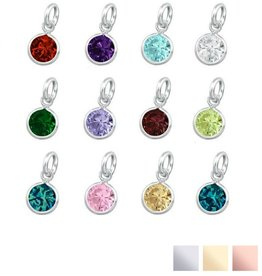 SWAROVSKI® Charm Birth Crystal Silver or Gold