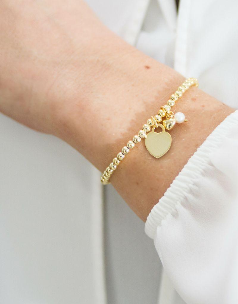 KAYA sieraden Zilveren armband 'Cute Balls' Graveer hartje & Parel & Hartje