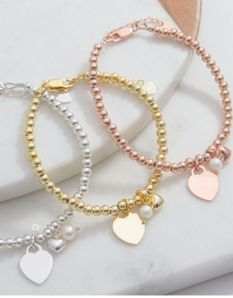 KAYA sieraden Silver bracelets set 'Cute Balls' for mother and daughter