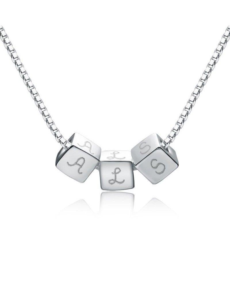 KAYA sieraden Gepersonaliseerd zilveren kettinkje 'dice'